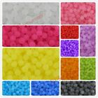Multicolor Clear Frosted Round Plain Charms Acrylic Plastic Beads Findings 6mm