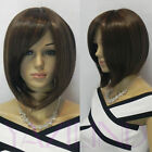 New Womens Inclined Bangs Short Straight Wig BOB Cosplay Party Full Wigs Hair