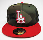 LA Dodgers Camouflage On Red All Sizes Fitted Cap Hat by New Era