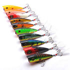 2 3/4 Inch 1/3 oz Topwater Popper Plugs Plastic Fishing Lures Bass Hooks Bait