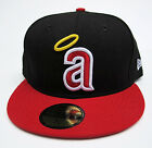 LA Angels Vintage Lower Case Logo Black On Red All Sizes Fitted Cap Hat New Era