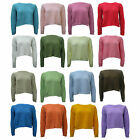 WOMEN LADIES WAFFLE KNIT LONG SLEEVE CROP JUMPER SWEATER 2 FOR £5 SPECIAL OFFER