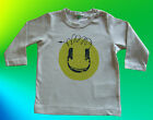 """BENETTON BABY BOYS OR GIRLS TAUPE """"SMILEY FACE"""" LONG SLEEVED T SHIRT 100% COTTON"""