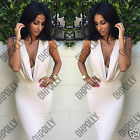 Womens Low Cut Cowl Neck Bodycon White Cocktail Evening Summer Ladies Midi Dress