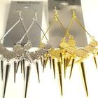 "BASKETBALL WIVES INSPIRED SPIKED SPIKE DANGLE 6"" 6 INCH SILVER COIN EARRING"