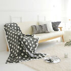 "Handmade Decorative Gray Cozy Polka Dot Throw Blanket White Fringes 39"" X 55"""