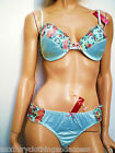 "Princess In Vogue Turquoise Satin Feel Floral Bra Set""mix & Matchthong Or Brief"