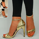 Womens Stiletto High Heel Sandals Ladies Black Ankle Strap Party Shoes Size UK
