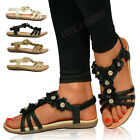 New Womens Flat Comfort Sandals Ladies Black Flower Strappy Summer Shoes Size UK