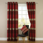 Stripe Jacquard Eyelet Ring Top Readymade Fully Lined Curtains - Red / Natural