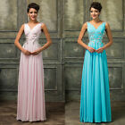 Crystal Jewel Sleeveless Chiffon Prom Bridesmaid Wedding Maxi Dress Size AU6-20