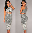 Sexy Skirt Suit Night Club Bandage Dress Black&White Floral Bodycon Party Dress
