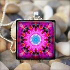 """PINK FLOWER MANDALA"" KALEIDOSCOPE GLASS TILE PENDANT CHARM NECKLACE KEYRING"