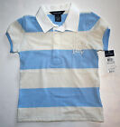 NWT Ralph Lauren Girls Blue Multicolor Striped Cotton Rugby Shirt Top Size 2T