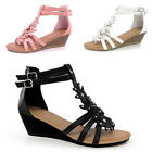 NEW WOMENS GIRLS SUMMER SANDALS STRAPPY WEDDING LOW HEEL FLAT WEDGES SHOES SIZE