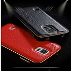 Luxury Leather Back Metal Aluminum Bumper Frame Cover Case for Samsung Galaxy US