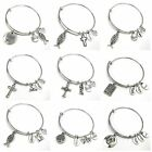 Expandable Wire Bangle Silver Plated Bracelet Charm Spiritual Quotes