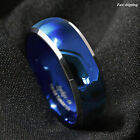 8mm Tungsten Men's Blue Domed with Beveled Silver Edges Band Ring