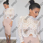 Womens Boho Floral Beach Summer Crochet Lace Long Sleeve Ladies Blouse Crop Top