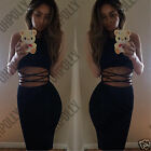 Womens Black Bodycon Cut Out Party Clubbing UK Cocktail Ladies Midi Pencil Dress