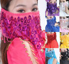 Cheap Hand Made Belly Dance Costumes Fine Mesh Face Veils Beaded Sequins