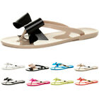 WOMENS LADIES TOE POST BOW DIAMANTE TWO TONE FLAT SUMMER JELLY SANDALS SIZE