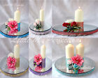 """DIAMANTE CRYSTAL  MIRROR  CAKE STAND CANDLE PLATE 8""""12"""" 14"""" 16"""" WEDDING TABLE"""