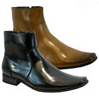 MENS ITALIAN ZIP CASUAL FORMAL CHELSEA BROGUE ANKLE OFFICE WEDDING BOOTS SHOES