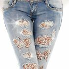 Sexy Women's Light Blue Jeans Trousers Skinny Hipsters Stylish Lace F 510