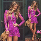 Womens Crochet Lace Long Sleeve Beach Summer Party Casual Cover Up Tunic Dress