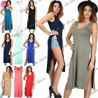 Womens Ladies V Neck Double Side Cut Out Tunic Waist High Split Midi Dress Top