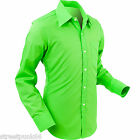 Chenaski Mens Lime Green Retro 70's Styled Plain Coloured Shirt Vintage Indie