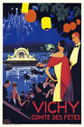Vintage Art Deco French Travel Poster Vichy 1920s Lake Ballet Fireworks Retro
