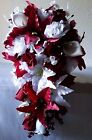 Burgandy Rose Tiger Lily Cascading Bridal Wedding Bouquet & Boutonneire