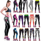 Womens Yoga Athletic Sport Pants High Waist Punk Stretch Gym Workout Leggings