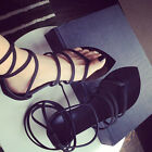 Womens Lace Up Gladiator Sandals Thong Cross Strappy Flip Flop Flat Summer Shoes