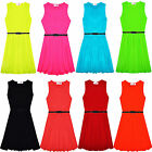 Girls Skater Dress Kids Party Dresses Belted Summer Party Outfit New 7-13 Years