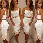 Womens Sexy Nude Black Lace Bralet Bustier Top Skirt Two Piece Party Dress Set