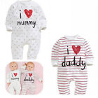 baby clothes I love Dad and mummy boys girls rompers Playsuit Sleepsuit