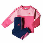 adidas Crew 3-Stripe Jogger Infant Kids Girls Tracksuit Set Pink