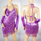 Women Cocktail Party Latin Ballroom Dance Sequin Fringe Club Backless Dress 2051