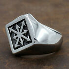 Men's Alchemy Magic 8 Pointed Chaos Star Silver 316L Stainless Steel Ring 8-14