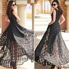 Grace Organza Embroidery Dress Sexy Lady Gridding Maxi Sleeveless Black Long New