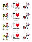 I love Shopping shoes bags  Edible Toppers Wafer/Icing cupcake x12Decoration