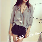 2015 Summer Women Lady Loose Lace Winkle Blouse Shirts Tops Breathable