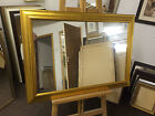 "NEW LARGE MODERN GOLD PLAIN GLASS OVERMANTLE WALL MIRROR 35"" X 25"" - EX DISPLAY"