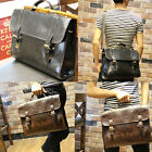 Men's Vintage Brown FAUX  Leather Messenger Bag Shoulder Laptop Bag Briefcase