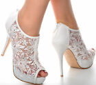 Off White Lace Diamante Platform Wedding Ankle Boots Heels Peeptoe Shoes