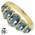 BJC® 9ct Yellow Gold Victorian Style 2ct Blue Topaz 5 Stone Ring Sizes K - V