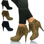 New Ladies Womens Fringe Stiletto High Heels Ankle Boots Platform Shoes Size UK